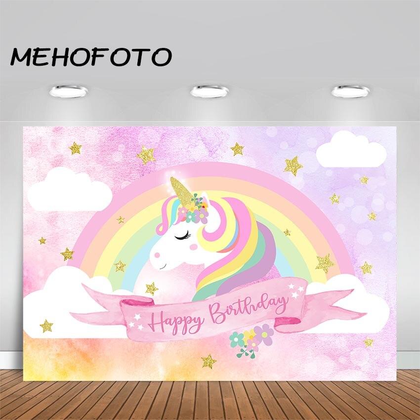 Mehofoto Unicorn Birthday Backdrop Purple Pink Floral Unicorn Photography Background 7x5ft Vinyl Unicorn Theme Birthday Party Banner Backdrops