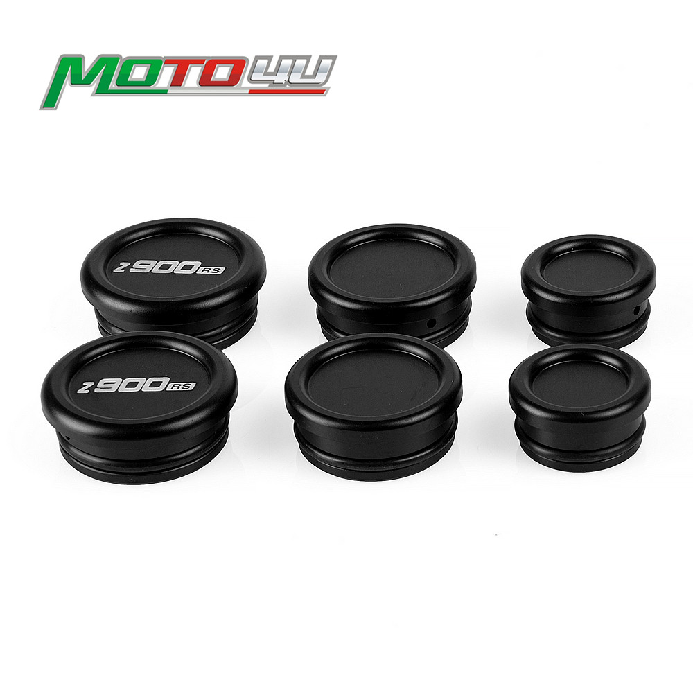 6 pièces nouveau cadre embouts bouchons de protection accessoires moto noir argent pour Kawasaki Z900RS Z 900 RS 2018 2019