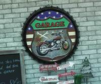 Large 3D effect tin sign GARAGE Vintage Metal Painting Beer cap Bar Wallpaper Decor Retro Mural Poster Craft 50x50 CM