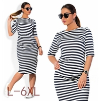 5XL 6XL Large Size 2016 Autumn Summer Dress Big Size Black White Striped Dress Straight Dresses