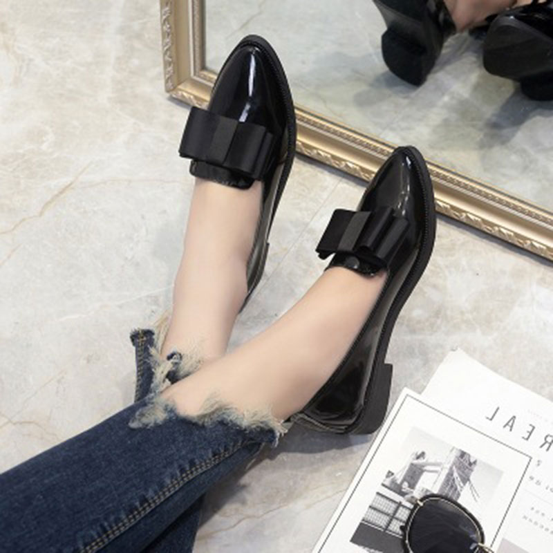 Designer Ladies shoes Pointed Toe Black Oxford  spring PU leather flats shoes woman rubber chaussures femme lolita shoes pu pointed toe flats with eyelet strap