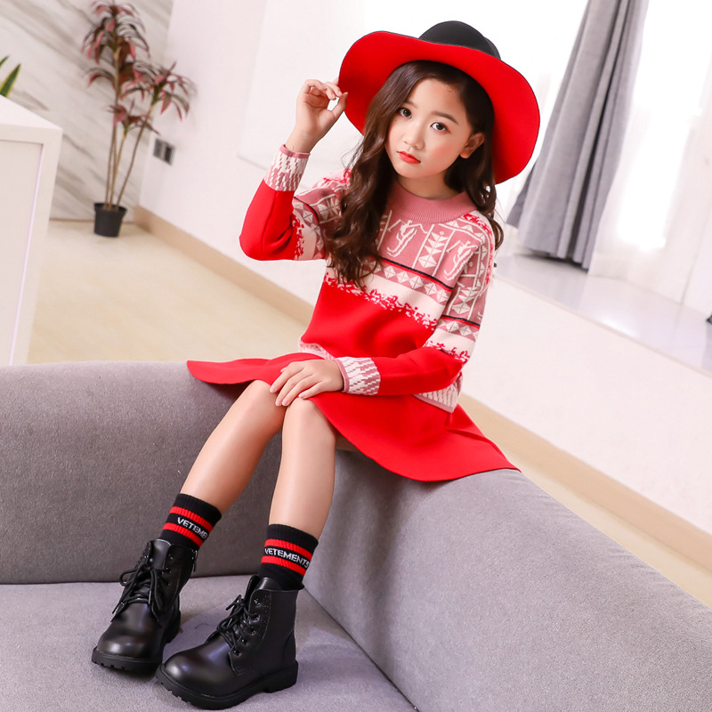 Children Sweater Kids Girls Thanksgiving Clothes Sets Autumn 2018 New Big Children Knit Long Sleeve Suit Christmas Outfit CLS260 christmas big girls outfit set fall winter red black cotton knit skirt sets long sleeve sweater skirts 2 pcs kids clothing suits