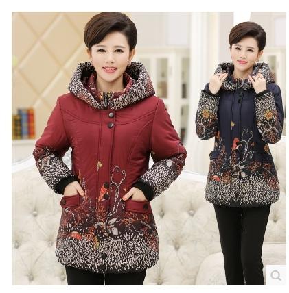 Frete grátis!!! o novo 2015 do inverno tamanhos maiores impresso com capuz espessamento de algodão acolchoado-algodão-acolchoado jaqueta de roupas mãe