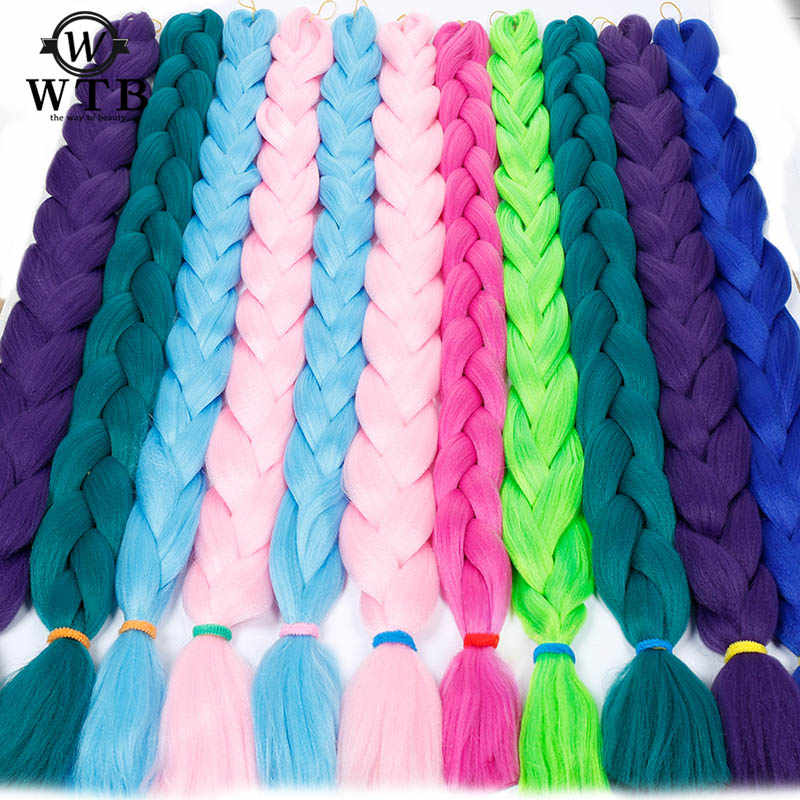 WTB Synthetic Braiding Hair 165g/pcs Long Jumbo Braid Bulk African Braiding Hair Crochet Hair Extensions 82 inches