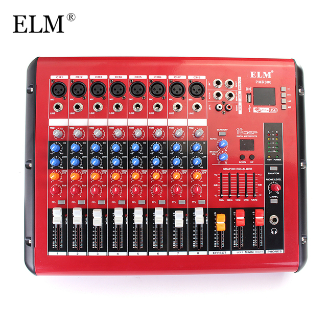 ELM Professional 8 Channel DJ Mixer Controller With bluetooth USB Built-in 48V Phantom Power Karaoke Audio Sound Mixing Console