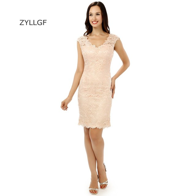 733f6f8d2c8 ZYLLGF Latest Design Short Lace Prom Dresses Sheath V Neck Graduation Dresses  Homecoming Party Gown Custom Made ZL64