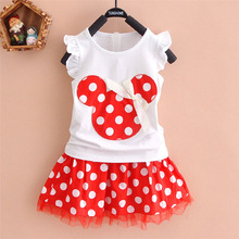 Girls Outfits O-neck Cotton Mesh Dresses for 2pcs Suit Clothes Baby Girl Cartoon Little Mouse Bow Print Ruffle