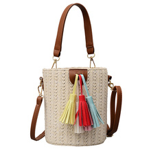 2019 Bucket Straw Bags Women Summer Rattan Bag Handmade Woven Beach Cross Body Tassel Bohemia Handbag Bali Knitting