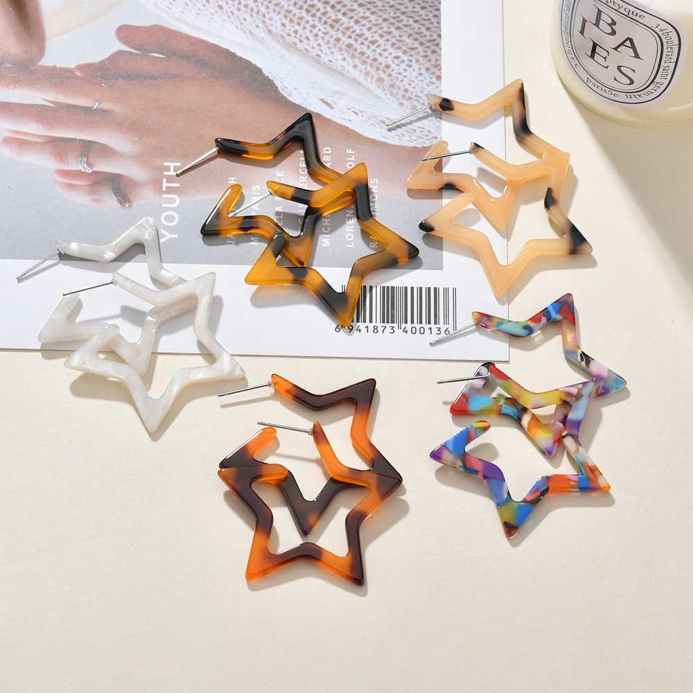 MESTILO 2019 Handmade Trang Sức Thời Trang Nhiều Màu Sắc Acrylic Thả Bông Tai Nữ Hình Học Ngôi Sao Lớn Nhựa Bông Tai Acetate D'oreille