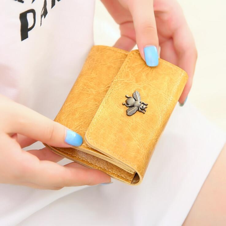 Fashion Vintage oil Leather Women Lady Wallet Clutch Short Small Coin Purse Brand New Soft Solid Square Bag Hot women short wallet vintage coin purse clutch clip lovely animal prints soft leather small purse carteras mujer sacoche homme