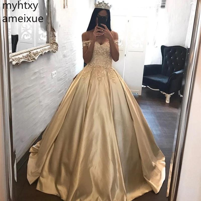 2019 New Sexy Evening Dresses Gold V-neck Off The Shoulder Lace Applique Floor Length Ball Gown Satin With Up Back Prom Party(China)