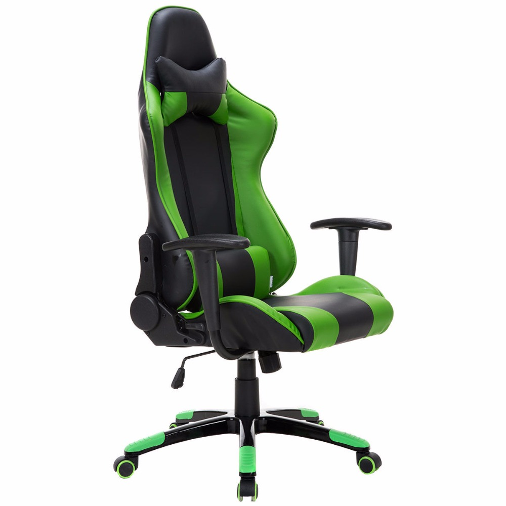 Goplus High Back Racing Style Gaming Chair Reclining Office Executive Task Computer Chair Pu Leather Swivel Armchair HW52606 racing bucket seat office chair high back gaming chair desk task ergonomic new hw54987ltbl