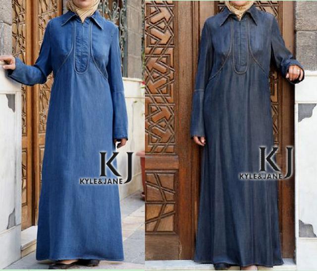 Turkish clothing maxi evening Muslim women dress, Denim arabic kaftan long robe Muslim dress