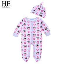 Newborn girl clothes spring and autumn period the long sleeve lovely cow design + hat baby boy casual clothing set