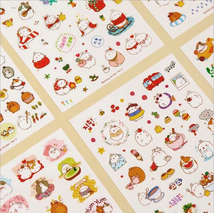 6 pcs/pack Cute Season 3 Molang Rabbit Decorative Sticker Diary Album Label Sticker DIY Scrapbooking Stationery Stickers Escolar ae87 80pcs pack kawaii rabbit black cat sumikko gurashi pvc decorative sticker dairy album diy decor craft stick label