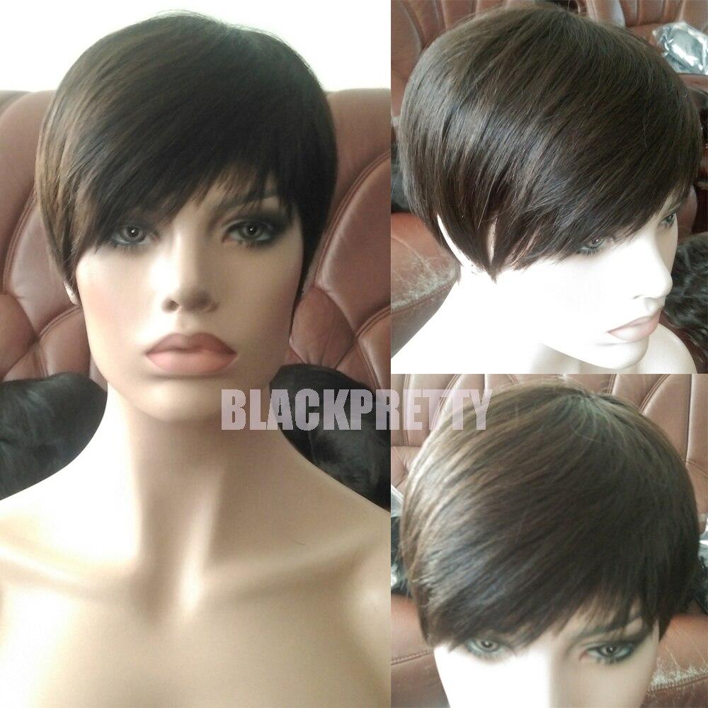 Celebrity Pixie Cut Human Short Hair Wig Rihanna Brown