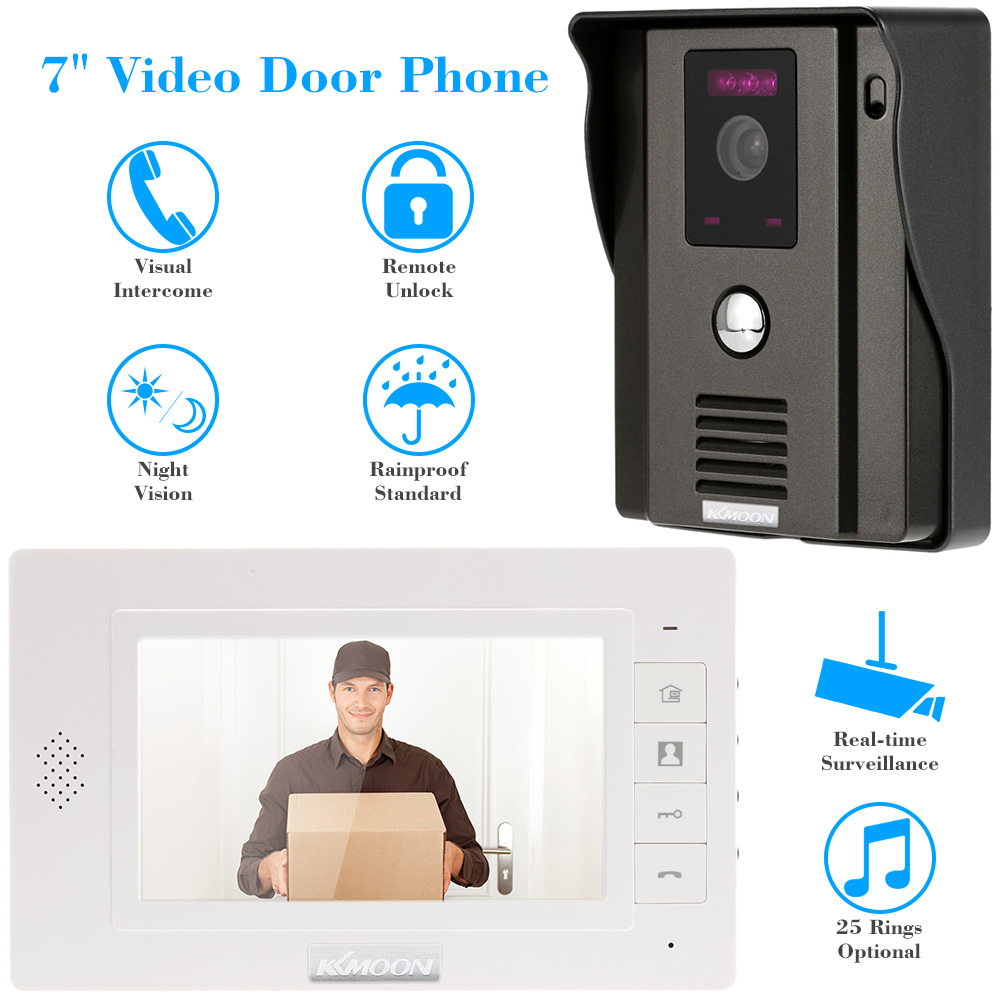 KKmoon 7 TFT LCD Screen Video Door Phone Video Intercome Doorbell Night Vision CMOS Outdoor Security