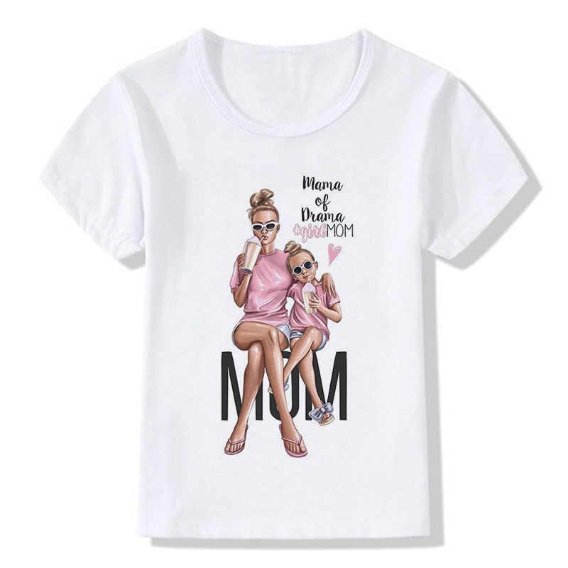 הגעה חדשה אופנה סופר אמא בנות T חולצה מצחיק מזדמן אמא אהבה בת ילד של תינוק ילדה למעלה Kawaii לפעוטות חולצת ילדים