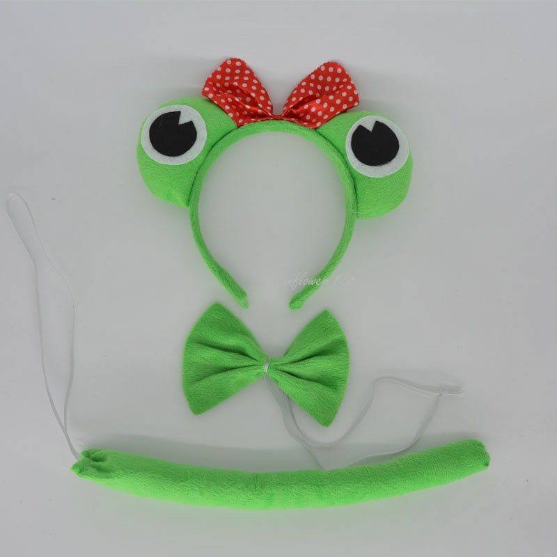 Party Animal Tail Ear Headband Bow Tie 3Pcs Party Green Frog Fancy Dress Costume For Halloween Carnival Birthday Gift