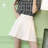 FANSILANEN 2017 New Arrival Fashion Summer/Spring Women High Waist Short Casual Solid Black/White/Yellow Shorts Loose Z71026