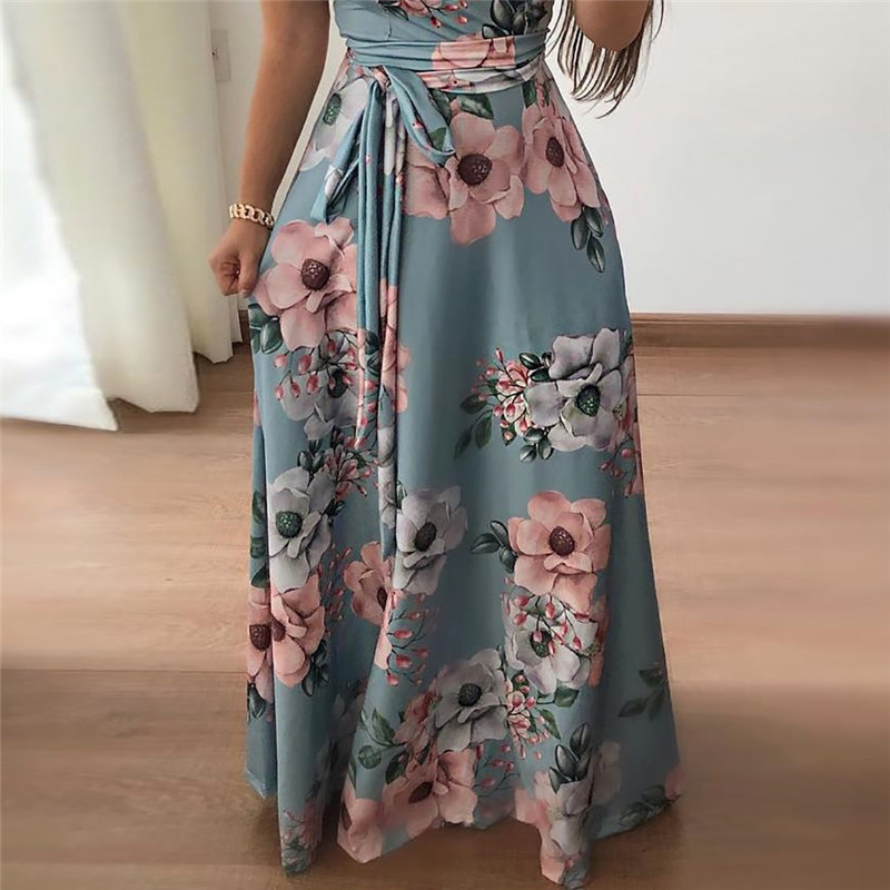 Women Long Maxi Dress 19 Summer Floral Print Boho Style Beach Dress Casual Short Sleeve Bandage Party Dress Vestidos Plus Size 14