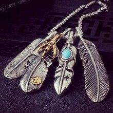 Винтажные листья длинное ожерелье для мужчин Орел коготь ожерелья с подвеской в виде пера для мужчин и женщин пляжное богемное ожерелья и к...