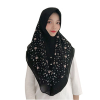 Moslem headband Malaysia pitchwork Chiffon mantilla scarves women 2018 silk hair head printed scarf for ladies dropshipping