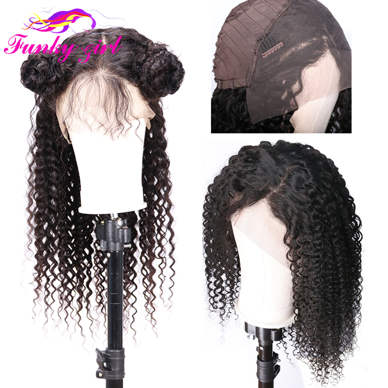 Funky Girl 13*4 Curly Lace Wig 150% Malaysia Lace Frontal Wig Pre Plucked With Baby Hair Non-Remy Lace Front Human Hair Wigs(China)
