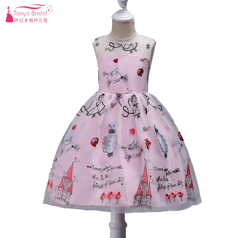 Pink Lovely Cartoon   Flower     Girls     Dresses   With Ribbon Bow Little Child Charming Wedding Party Gowns Princess vestido Festa ZF022