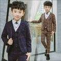 new 2016 autumn winter boys high quality gentlemen plaid blazer clothing set 3pcs boys full dress clothes set boys dress suit