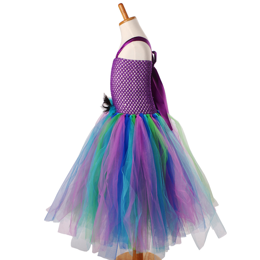 Peacock Flower Girl Tutu Dress Turquoise and Purple Tulle Wedding Dress Kids Purim Party Ball Gown Elegant Princess Prom Dress (9)