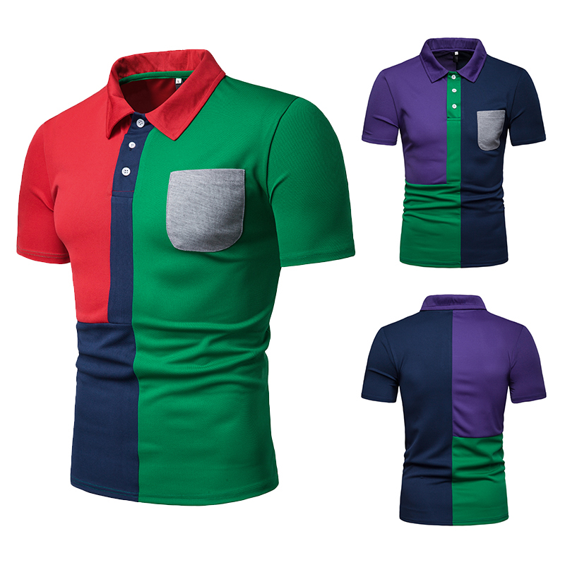100% Quality Summer New Fashion Men Summer Short Sleeve Personalized Match Color Polo, Casual Lapel Color Contrast Polo Short Sleeve