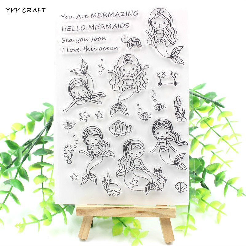 YPP CRAFT Cute Mermaid Transparent Clear Silicone Stamp/Seal for DIY scrapbooking/photo album Decorative clear stamp about lovely baby design transparent clear silicone stamp seal for diy scrapbooking photo album clear stamp paper craft ll 052