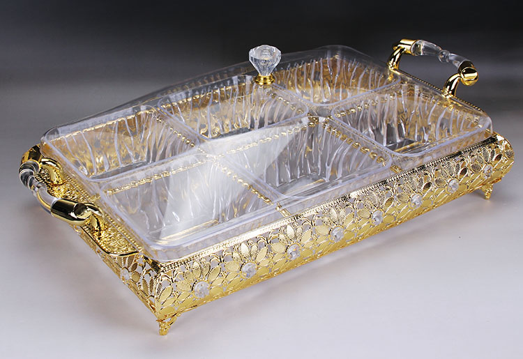 6 compartment style snacks division candy dish living fashion metal gold tray fruit box fruit bowl with cover decoration Arts6 compartment style snacks division candy dish living fashion metal gold tray fruit box fruit bowl with cover decoration Arts