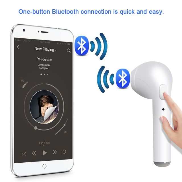 i7 Wireless Bluetooth Earphone Earbud Headset Portable Stereo Music HandsFree Mini Sport Heasphone With Mic for IOS Android 2018