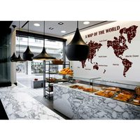 DCTAL World Map Wall Stickers Large New Design Coffee Shop Pattern Map Wall Decal Vinyl Decals World Map Poster Sticker