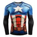 Мужские Сжатия Рубашка Супергерой Супермен Капитан Америка Железный Человек 3D Майка Бренд Clothing Фитнес Мужчин С Длинным Рукавом Футболка