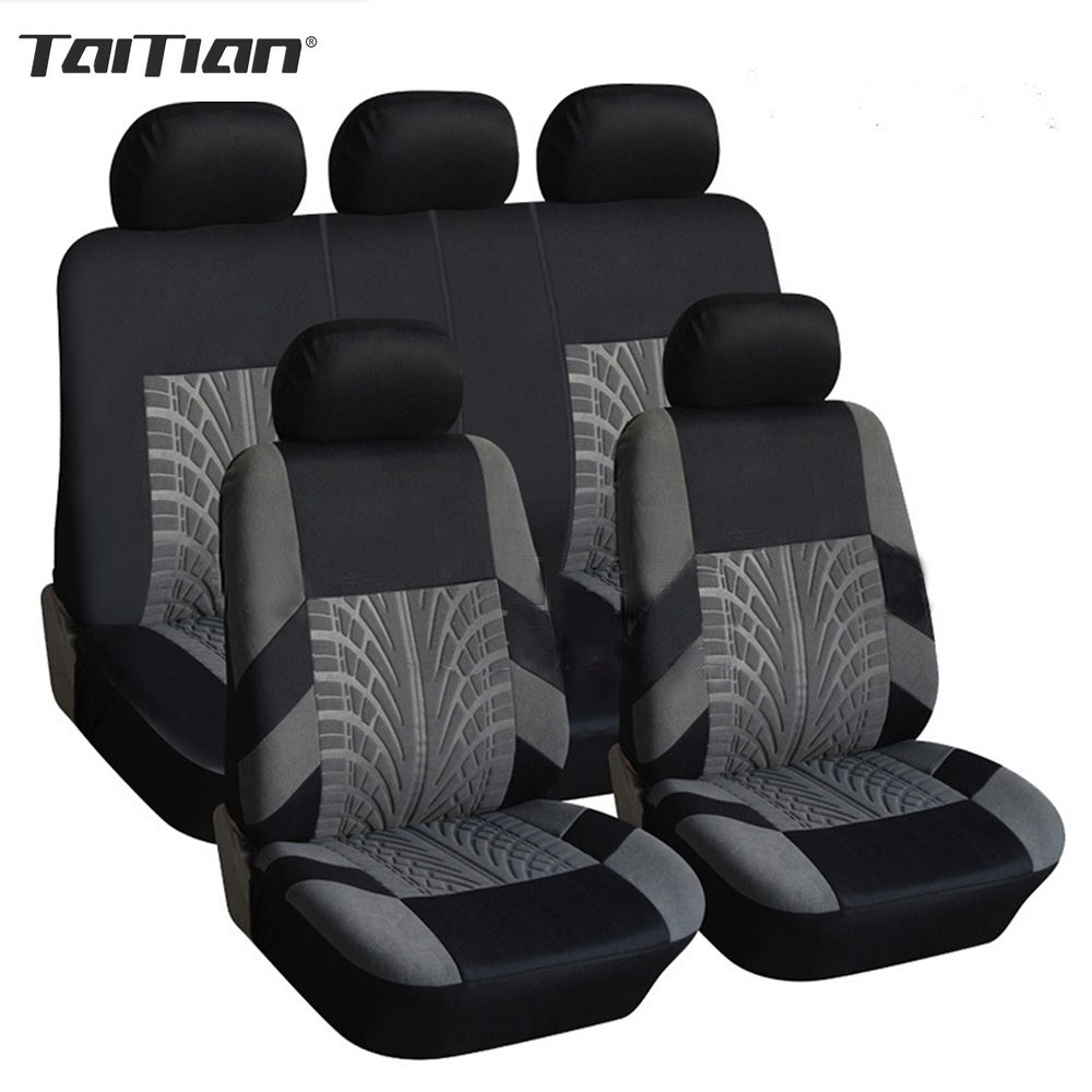 Taitian Universal Luxury Automobiles Seat Covers Full Sets Front Rear Seat Protector Upholstery Case For Car Interior Accessorie 11 pc charcoal scottsdale seat covers front rear l cargo rubber mats universal
