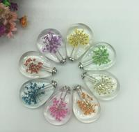 100pcs Real dried Flower Specimens Crystal Creative Jewelry Perfume Bottle Style Fashion Pendant Locket unisex couples Necklace