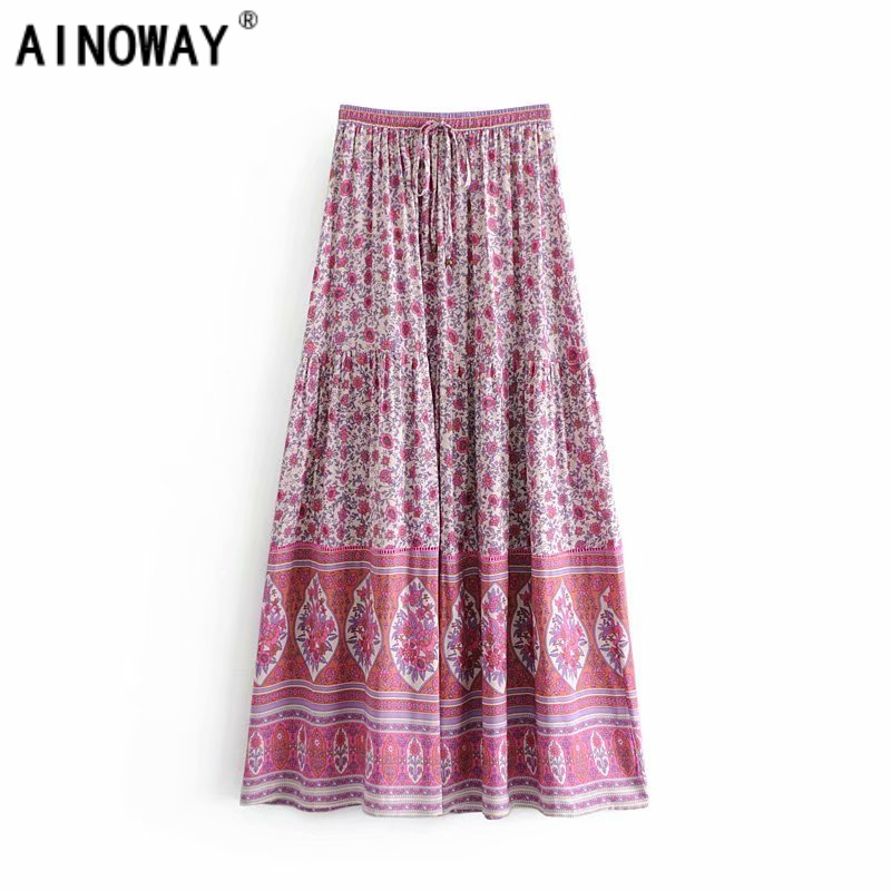 Vintage chic fashion women Hippie beach Bohemian floral print skirt High Elastic Waist Maxi  A Line Boho Skirt Femme-in Skirts from Women's Clothing on AliExpress - 11.11_Double 11_Singles' Day 1