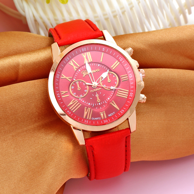 Fashion Women Watch Roman Numerals Faux Red Leather Top Luxury Analog Casual Lad