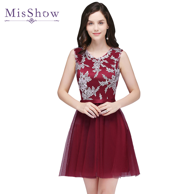 Robe de soiree courte 2019 Pink Tulle A-line Party Evening Gown lace dress Banquet Short Evening Dress Cheap short prom dresses