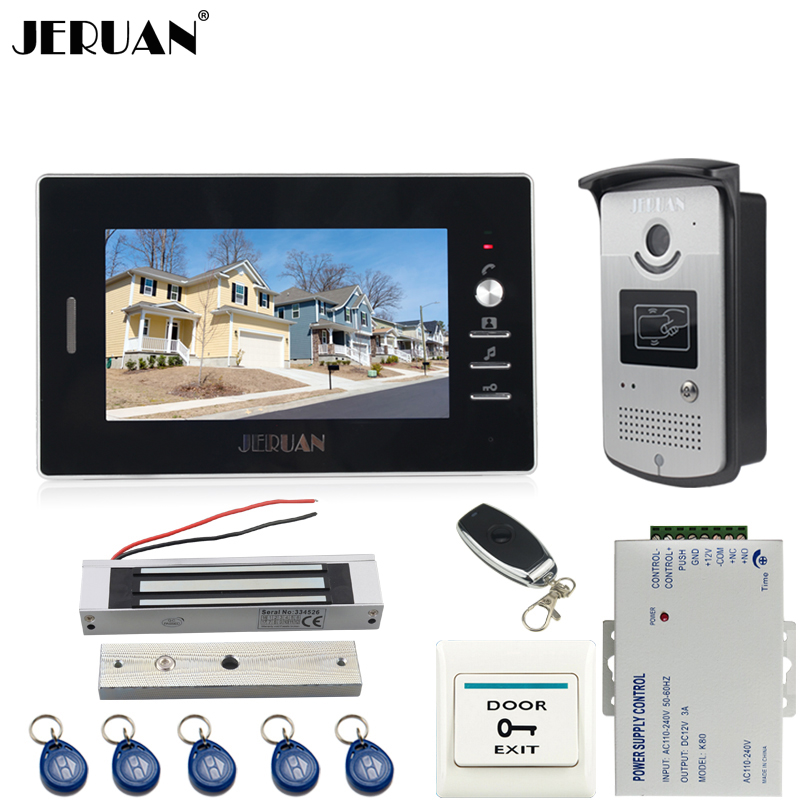 JERUAN 7`` TFT color video door phone intercom system kit 700TVL RFID Access IR Night Vision COMS Camera In stock FREE SHIPPING