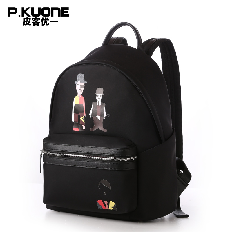цена на P.KUONE 2018 Women Backpacks Fashion High Quality Messenger Laptop Black Bags Casual Canvas Mochila Backpack Travel Daypack Bag