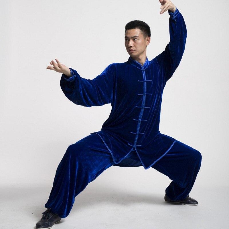 Winter Women Men Velvet Morning Exercise Sportswear Sets Folk Chinese Tai Chi Wushu Uniform Martial Arts Tracksuit Plus Size 3XL