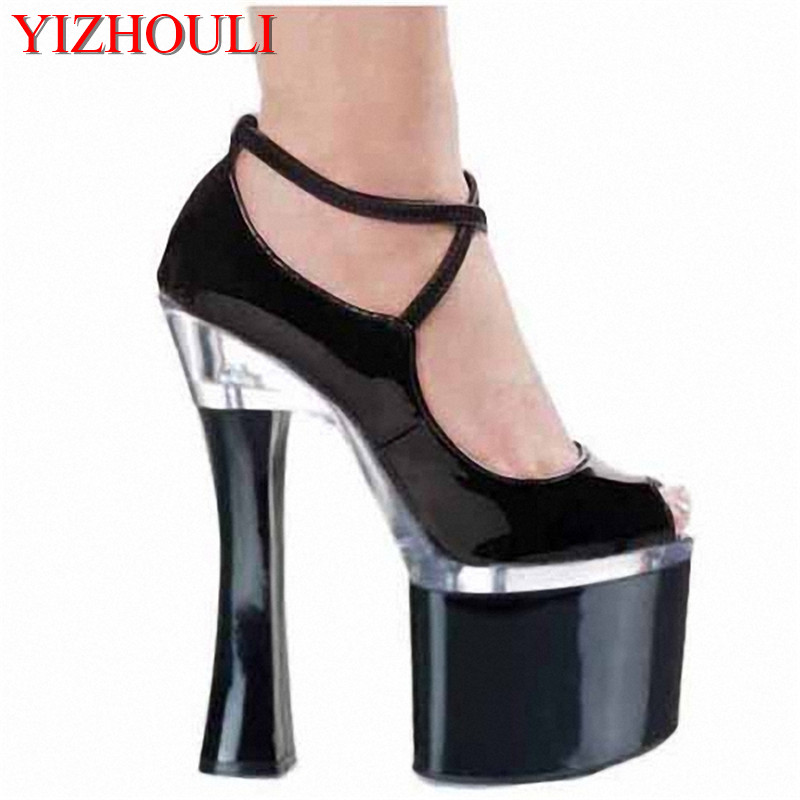 Manufacturers selling new single crystal with fish mouth shoes 18 cm high heel waterproof platform heels shoesManufacturers selling new single crystal with fish mouth shoes 18 cm high heel waterproof platform heels shoes