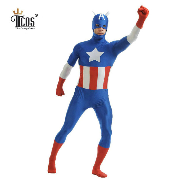 Captain America Cosplay Costume Man Adult Costumes Spandex Lycra Zentai Bodysuit Second Skin Tight Unitard Halloween  sc 1 st  AliExpress.com & Captain America Cosplay Costume Man Adult Costumes Spandex Lycra ...