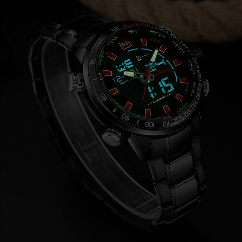 NAVIFORCE Men 39 s Luxury Brand Sport Watches Men Dual Display LED Digital Waterproof Full Steel Quartz Watch Sports Man Clock New in Digital Watches from Watches