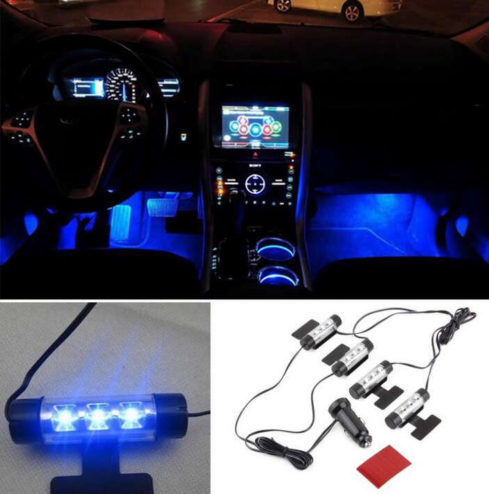 4 X 3led Car Light Source Auto Interior Led Atmosphere Inside Decoration Lamp Blue Free Shipping In Signal From Automobiles Motorcycles On