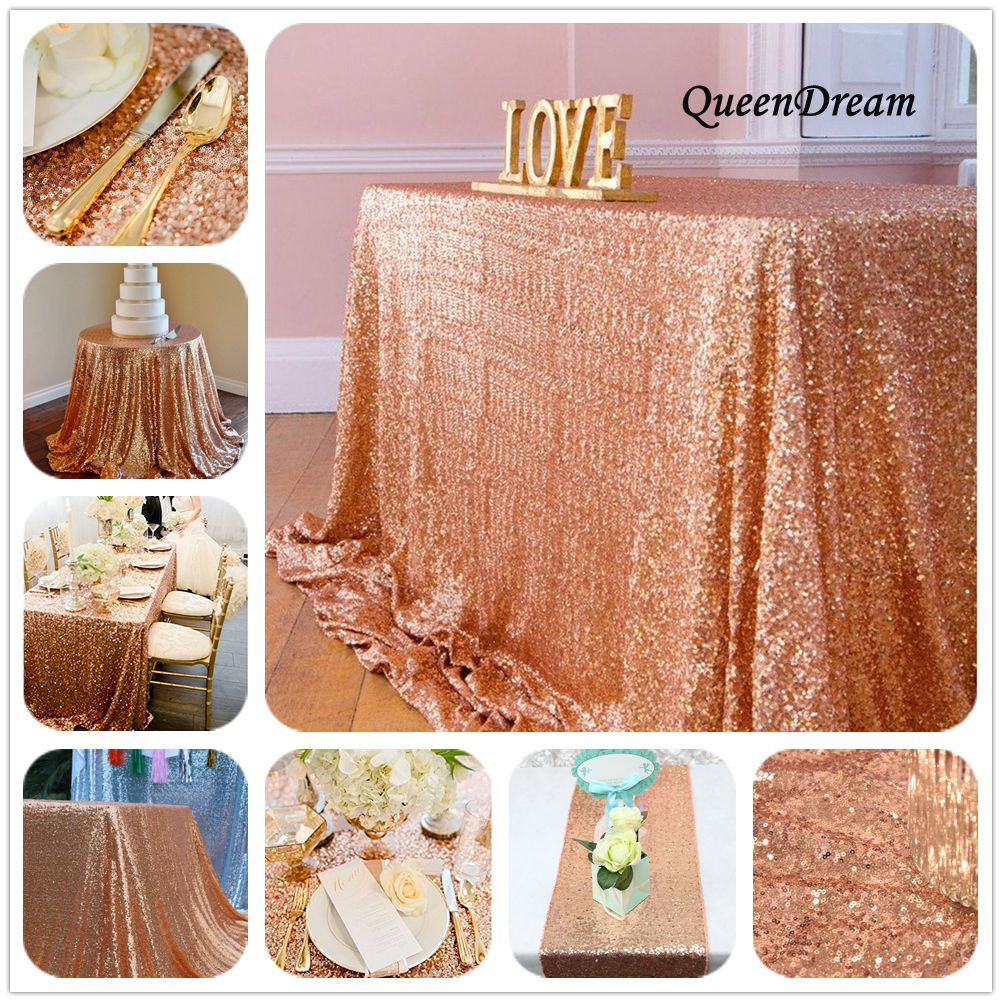 Rose Gold Sequin Tablecloth 60x102 Inches Wedding Cake
